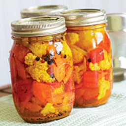 Pickled Cauliflower with Carrots and Red Bell Pepper