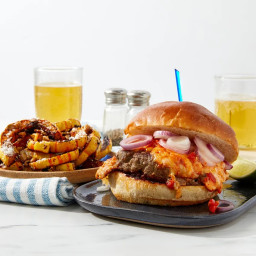 Pimento Cheeseburgers with Spicy Roasted Delicata Squash & Pepitas