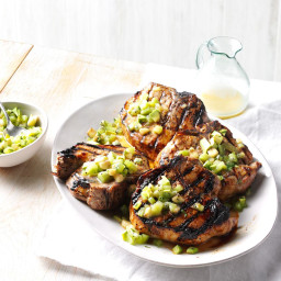 Pina Colada Pork Chops with Tropical Fruit Salsa Recipe