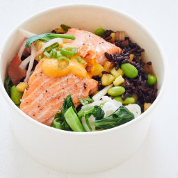 Pineapple Black Fried Rice Bowl With Pan-Fried Salmon