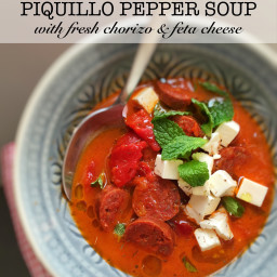 Piquillo Pepper Soup with Fresh Chorizo and Feta Cheese