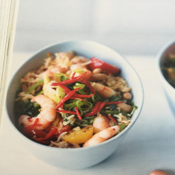 Piri Piri Rice And Peas With Garlic Prawns