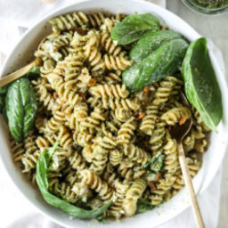 Pistachio Basil Pesto Pasta Salad with Burrata