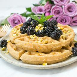 Pistachio Cardamom Waffles with Rose-Soaked Blackberries
