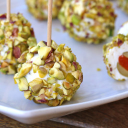 Pistachio Lemon Cheese Balls with Basil and Olives