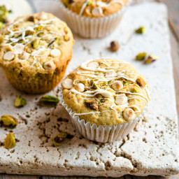 Pistachio Muffins with White Chocolate Chips