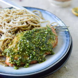 Pistachio Pesto Chicken with Whole Wheat Spaghetti