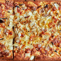 Pizza al Taglio With Onion and Provolone