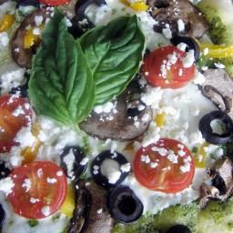 Pizza vegetariana con pesto