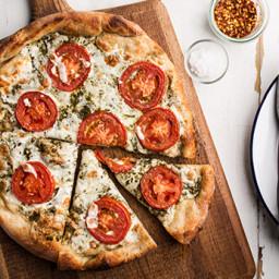 Pizza with Pesto, Fresh Tomatoes, and Mozzarella
