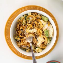 Plantain Noodles with Avocado, Corn and Chipotle Greek Yogurt