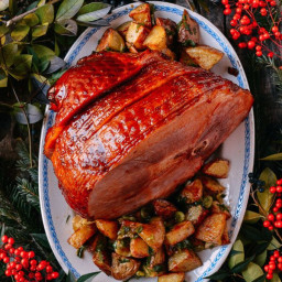 Plum Sauce Glazed Ham with Soy and Scallion Butter Roasted Potatoes