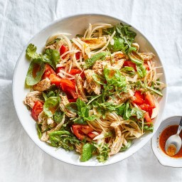 Poached Chicken and Arugula Salad with Tomatoes and Chili Crisp