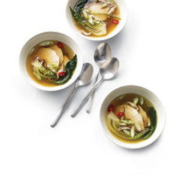Poached Chicken with Bok Choy in Ginger Broth