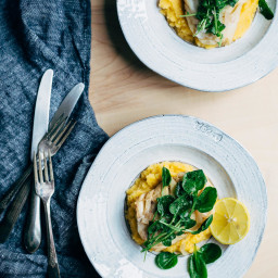 Poached Cod with Rutabaga Puree and Watercress