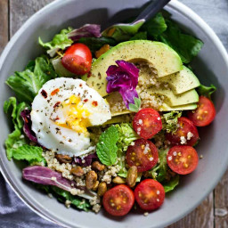 Poached Egg and Avocado Breakfast Salad
