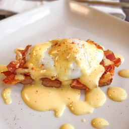 Poached Egg and Bacon Sweet Potato Toast with Easy Hollandaise Sauce