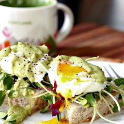 Poached Eggs on Sourdough with Avocado Cilantro Sauce