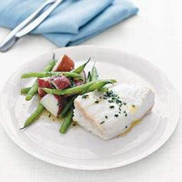 Poached Halibut With Potatoes and Green Beans