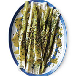 Poached Leeks with Capers and Mustard Vinaigrette