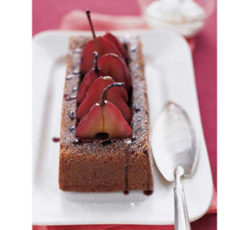 Poached Pears with Gingerbread