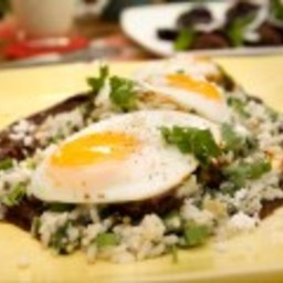 Poached Eggs in Mole with Creamy Green Rice