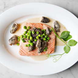 Poached Wild Salmon with Peas and Morels