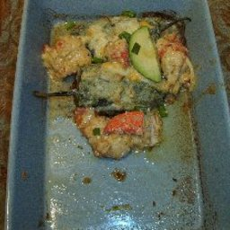 Poblano Chiles Rellenos with Lobster, Avocado, and Pepitas O