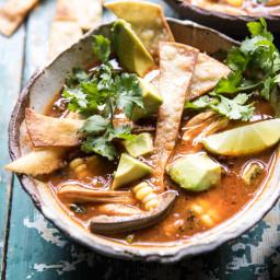 Poblano Corn Chicken Tortilla Soup