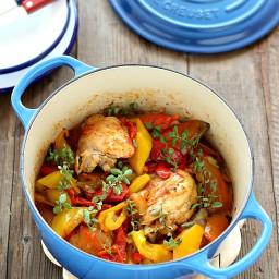 Pollo con peperoni, alla romana