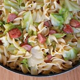 Polska Kielbasa with Cabbage and Egg Noodles