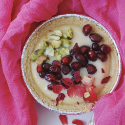 Pomegranate and Pistachio Custard Tarts