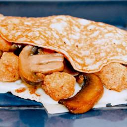 Popcorn Chicken & Mushroom Crepes