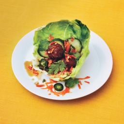 Pork and Lemongrass Meatballs in Lettuce Cups