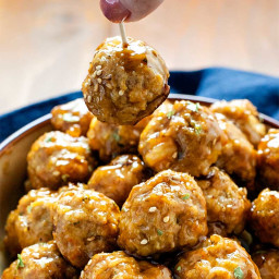 Pork and Shrimp Meatballs with Teriyaki Glaze