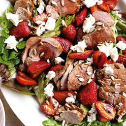 Pork and strawberry salad