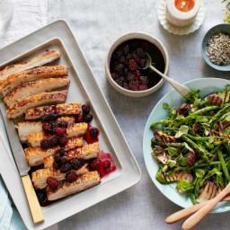 Pork belly roast with blackberry vinaigrette and watercress salad
