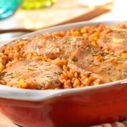Pork Chop and Spanish Rice Bake