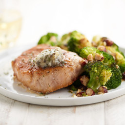 Pork Chop with Sage and Honey Butterwith roasted garlic and hazelnut brocco