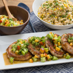 Pork Chops and Summer Vegetable Ricewith Heirloom Tomato and Peach Salsa
