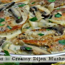 Pork Chops With A Creamy Dijon Mushroom Sauce