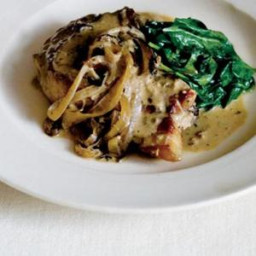 Pork Chops With Cider, Cream and Spinach