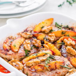 Pork Chops with Peaches and Walnuts