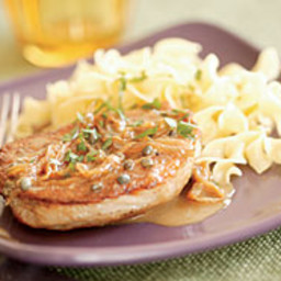 Pork Chops with Sweet Onions, Capers and Vermouth