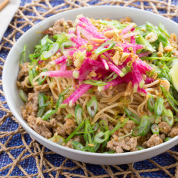 Pork Dan Dan Noodles with Watermelon Radish and Garlic-Lime Peanuts