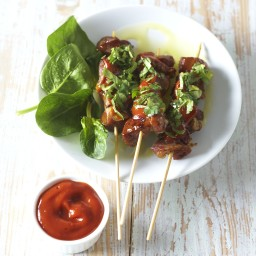 Pork Kebabs with O&CO. Ketchup and Cilantro
