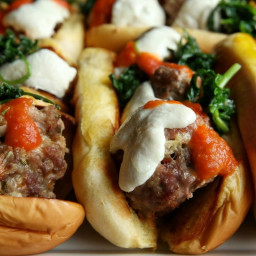 Pork Meatball Subs with Garlicky Kale