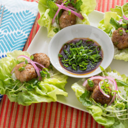 Pork Meatballs in Butter Lettuce Cupswith Soy Dipping Sauce and Sticky Rice