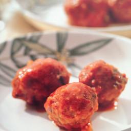 Pork meatballs with tomato sauce (youvarlakia)