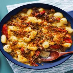 Pork Sausage Gnocchi Bake with Roasted Tomatoes & a Crispy Panko Topping